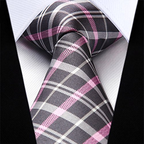 Pink Tie Wedding amp; Gray Handkerchief Check Men's Set HISDERN Pocket Necktie Square qgAUPn