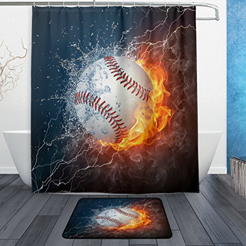 ALAZA Baseball Ball with Water and Fire Waterproof Polyester Fabric Shower Curtain 60 W x 72 H Inch with Hooks Doormat Bath Floor Mat 23.6 L x 15.7 W Inch ()