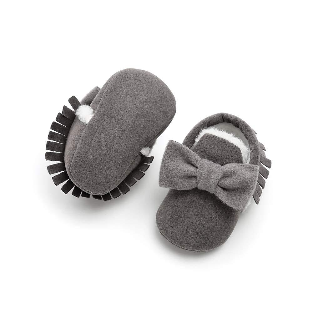 Weixinbuy Toddler Baby Girls Boys Soft Sole Bowknot Tassel Slip-on Winter Warm Shoes