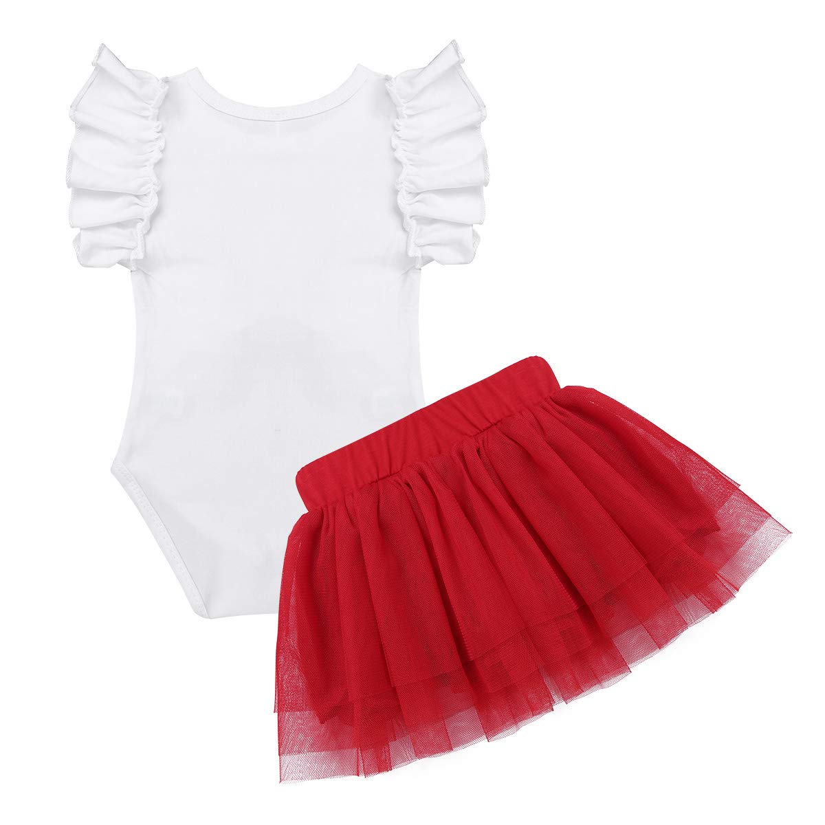 TiaoBug Baby Girls Christmas Romper with Tutu Skirt Headband Outfits