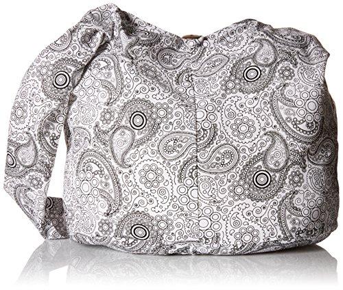 BTP! Thai Cotton Hippie Hobo Sling Crossbody Bag Messenger Purse Paisley Print Large (White (Slouch Bag)