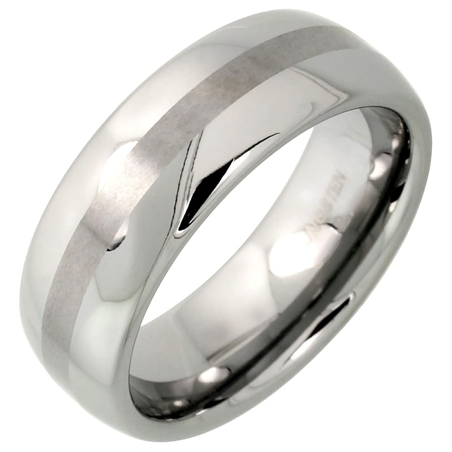 8mm Tungsten 900 TM Wedding Ring Domed Narrow Center Stripe