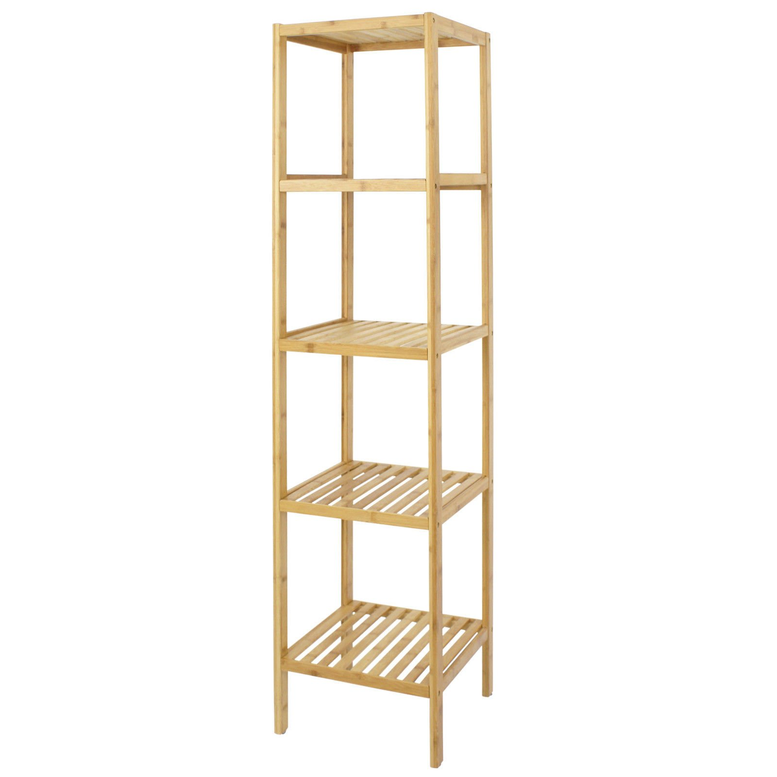 5-Tier Bamboo Storage Shelf Bathroom Organizing Rack Home Decor Living Room by Unknown