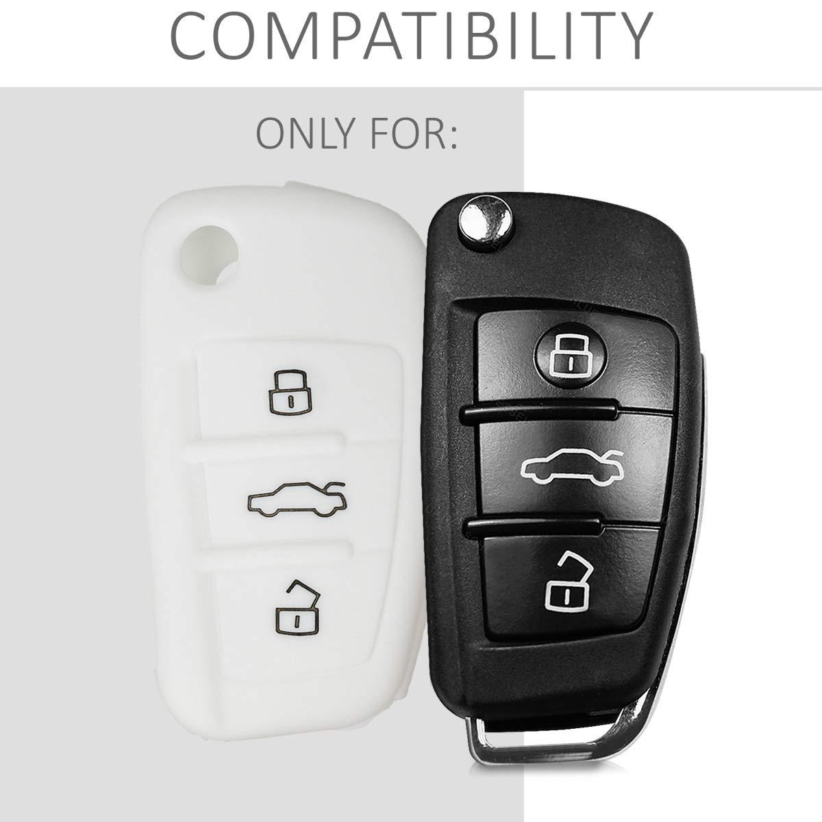 Carcasa Protectora Suave de Silicona Case de Mando de Auto con dise/ño Racing kwmobile Funda para Llave Plegable de 3 Botones para Coche Audi