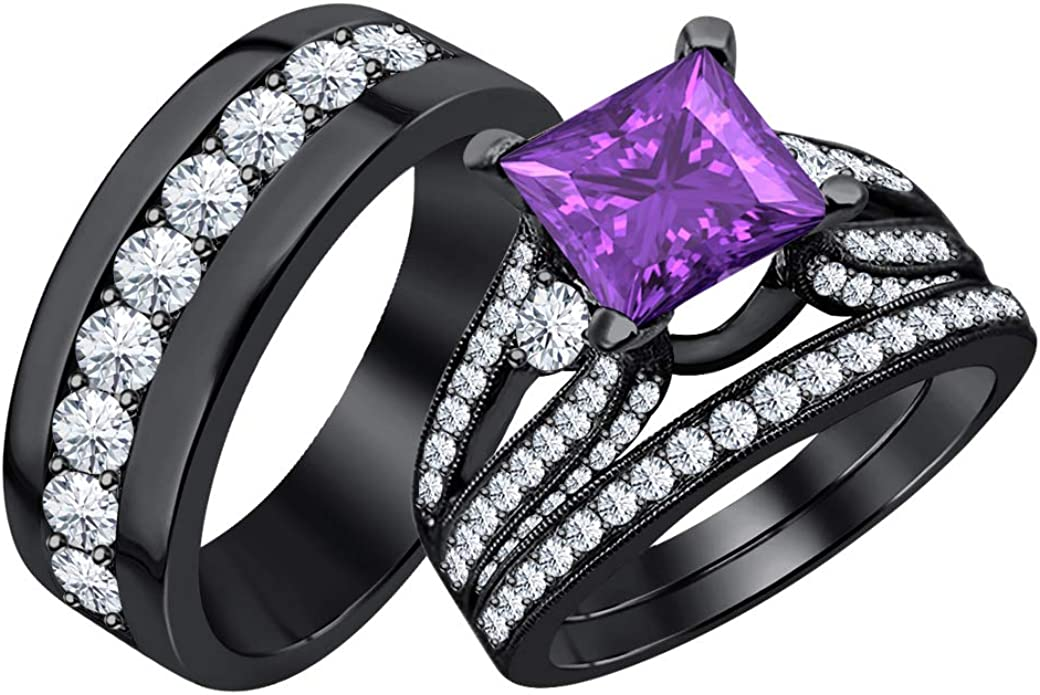 Amazon Com Tusakha Beautiful Wedding Halo Trio Ring Band Set