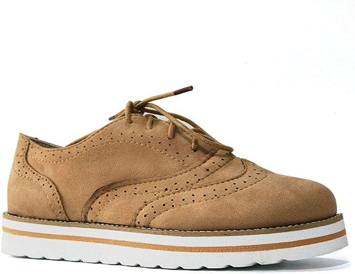 YYFURR Zapatos de Mujer con Plataforma Oxfords y Cordones