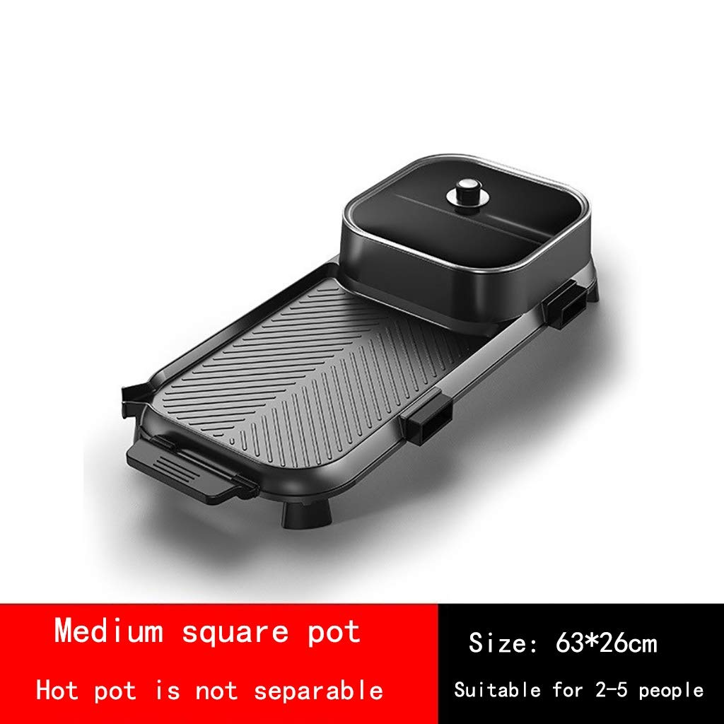 Hot Pot Grilled BBQ One-Piece Pot Household Electric Grill Smokeless Barbecue Machine Multi-Function Electric Baking Pan Grilled Fish, Electric Oven, Non-Stick Coated Surface, Glass C by Hot Pot
