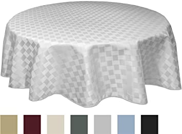 Bardwil Reflections Spill Proof Oval Tablecloth, 60 X 84 Inch, White