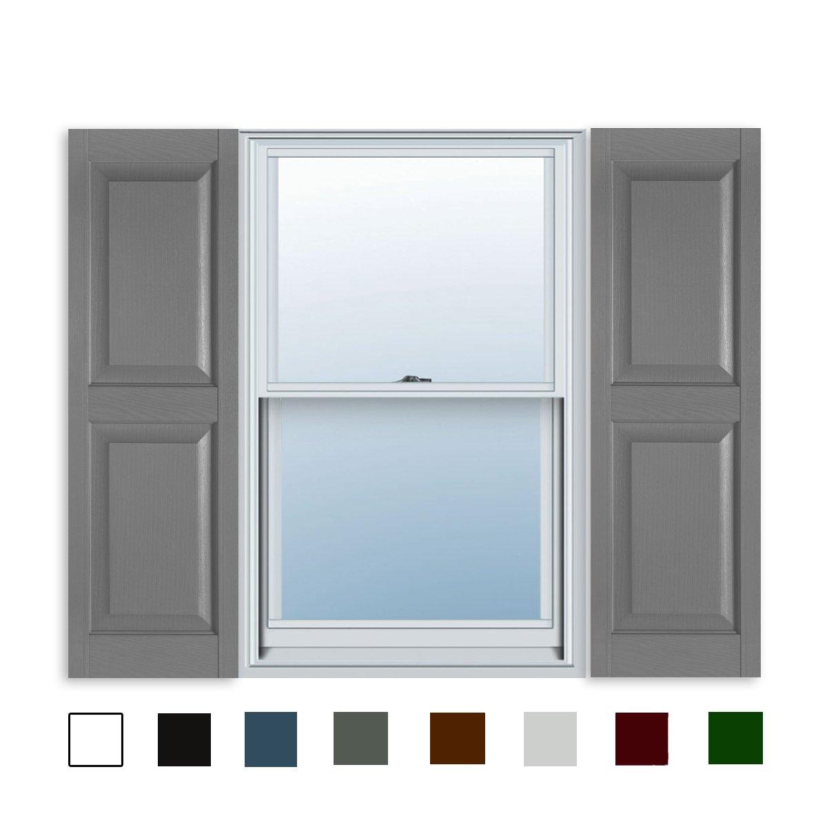 ExteriorSolutions.com 15 Inch x 55 Inch Standard Raised Panel Exterior Vinyl Shutters, Paintable (Pair)