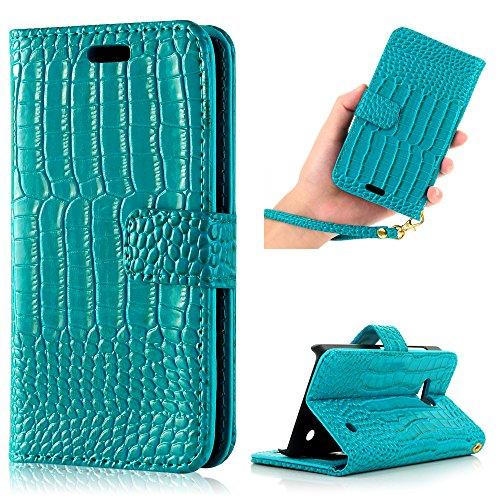 Microsoft Lumia 550 N550 4,7 Zoll Tasche YOKIRIN Krokodil Streifen PU Leder Hülle handycase Innere Hart PC Hardcase Book Case Cover Handyhülle Schutzhülle Handytasche Handyschale Protective Leder Holster für Nokia Lumia N550(Blau Grün)