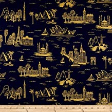 Cotton + Steel Rifle Paper Co. Les Fleurs Lawn Metallic City Toile Navy Fabric By The Yard