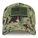 Trendy Apparel Shop Youth Military Olive American Flag Patch Tactical Cap - NWU Camo