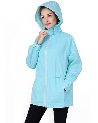 d46221a72 Amazon.com: MYIFU Women's Waterproof Long Hooded Softshell Rain Jacket  Outdoor Windbreaker Raincoat: Clothing