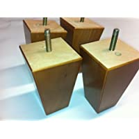 Foam & Upholstery Warehouse X4 Oak Finish Small Square Wooden Furniture Feet, For Sofas Chairs & Stools