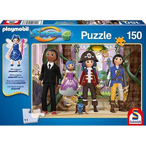 Schmidt Spiele 56167 Puzzle Super 4 - Enchanté avec Une Figure Playmobil Originale 150 Pièces