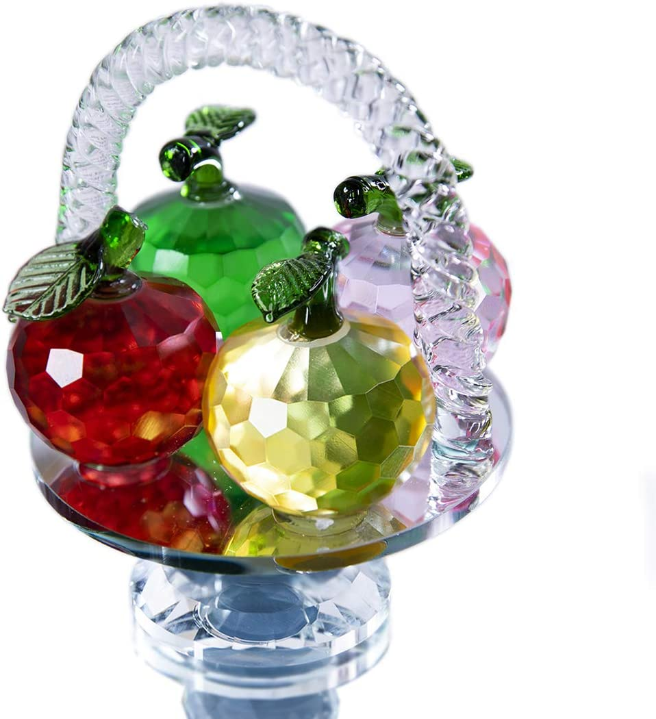 QF 4.7in Height, 4 Colors Crystal Faceted Apples Ornament, Glass Apple Figurines Collectibles in Flower Basket Statue for Home Table Decor
