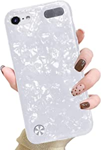 J.west iPod Touch 7th Generation Case, iPod Touch 6th 5th Case, Cute Glitter Pretty Pearly-Lustre Slim Soft Bumper TPU Silicone Shockproof Protective Case Cover for Girls Women (White)