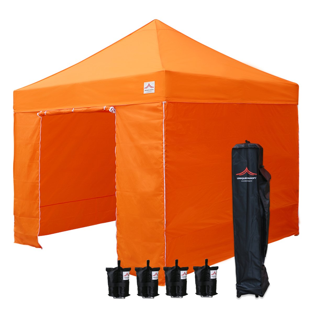 UNIQUECANOPY 10x10 Ez Pop up Canopy Tents for Parties Outdoor Portable Instant Folded Commercial Popup Shelter, with 4 Zippered Side Walls and Wheeled Carrying Bag Bonus 4 Sandbags Orange