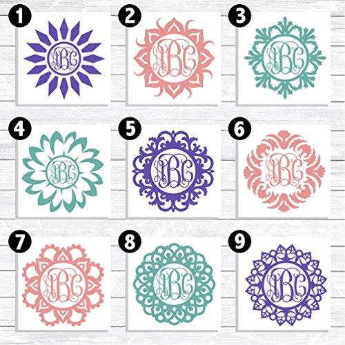 Mandala Monogram Decal for Cars, Cell Phone, iPhone, Notebooks, Walls, and more! (Personal Monogram)