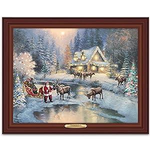 Thomas kinkade lighted framed canvas print wall decor christmas at deer creek by for Home interiors thomas kinkade prints