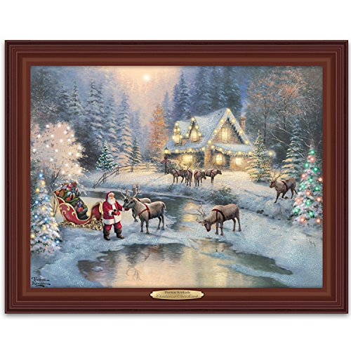 Thomas Kinkade Lighted Framed Canvas Print Wall Decor: - Thomas Kinkade Lighted Cottage