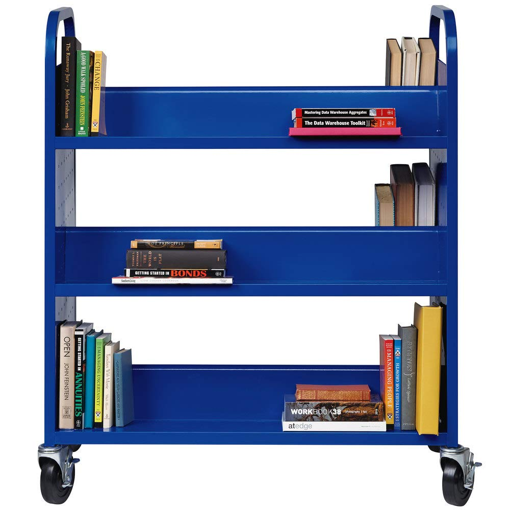 Rolling Library Book Cart Single Sided Flat Shelves with Lockable Wheels. 38'' x 18'' x 46 1/4'' Blue 6-Shelf Book Cart by Mix.Home