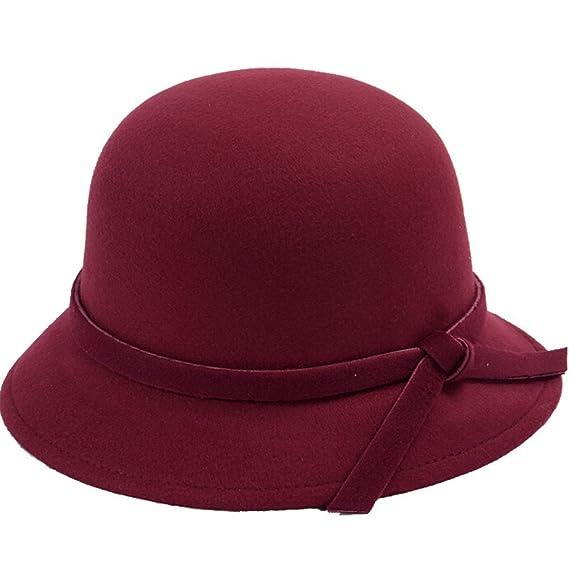 Bowknot-Blu Butterme Donne Lady Vintage lana rotonde Fedora arco Cloche Derby secchio cappelli Cappelli