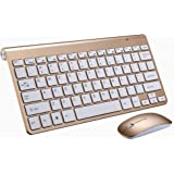 Portable Wireless Keyboard for Mac Notebook Laptop TV box 2.4G Mini Keyboard Mouse Set Office Supplies for IOS Android Win 7 10,Golden Keyboard Set