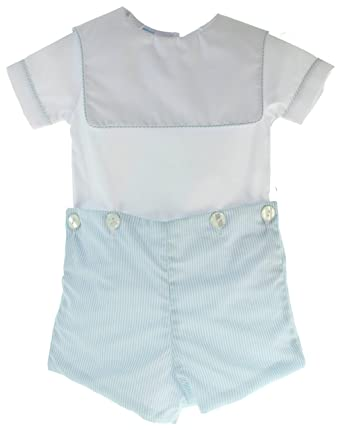 359aa5b3767 Amazon.com  Boys Christening Outfit Blue White Short Set Button On ...