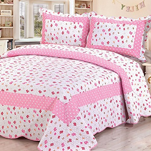 Soft Cotton Summer Country Quilts , Twin Size Pink Flower