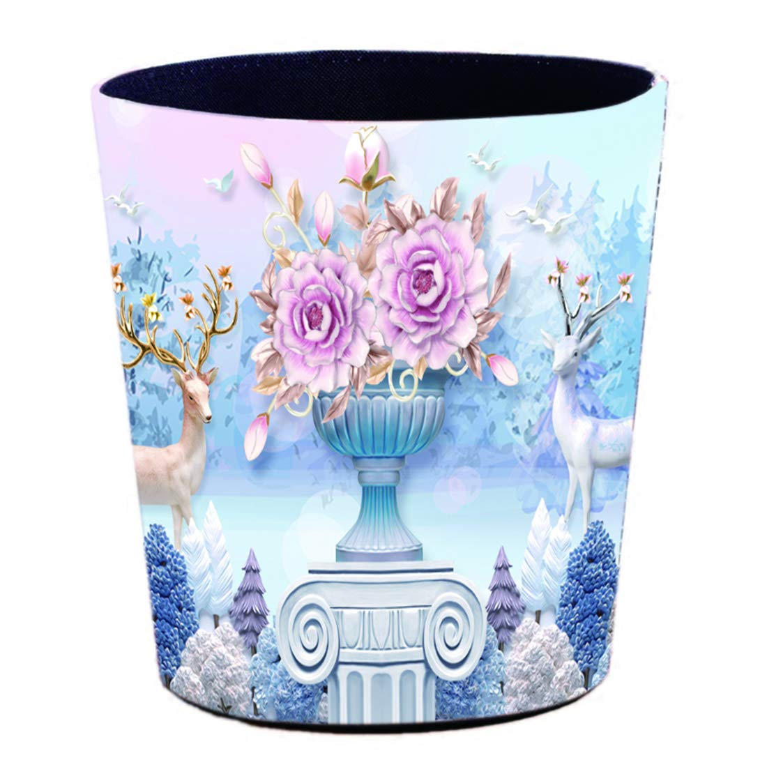 Lingxuinfo Retro Style Small Trash Can Wastebasket, Decorative Trash Can Waste Paper Basket Waste Container Bin for Bathroom, Bedroom, Office and More, 10L Capacity