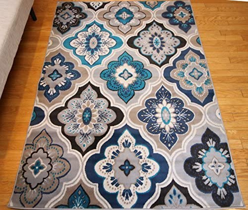 Generations New Contemporary Panal and Diamonds Beige Navy Coral Blue Grey Modern Area Rug Rugs 13×16