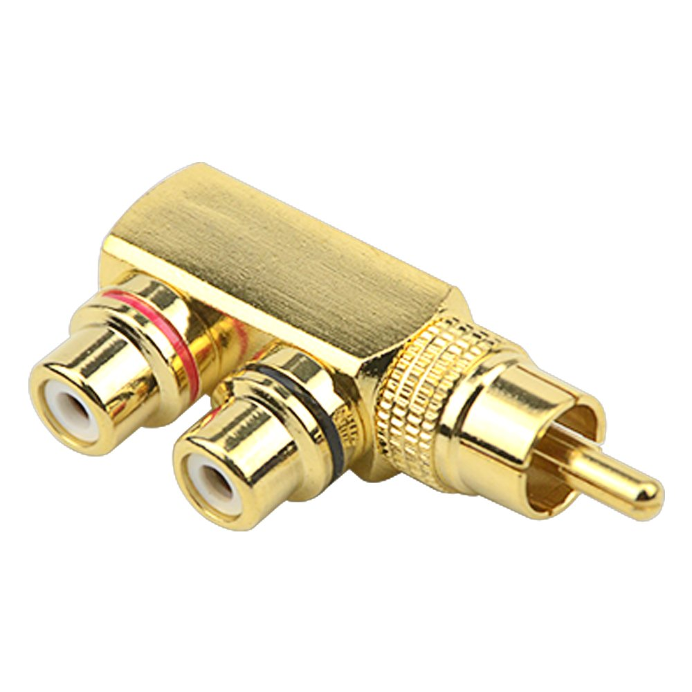 WMYCONGCONG 2 PCS RCA Male to 2 RCA Female Right Angle Plug RCA Splitter Adapter Connector