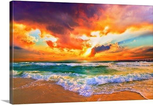 "Orange Mountain Sunset Over Tropical Ocean 24/"" x 24/"" 3 Piece Canvas Print Set"