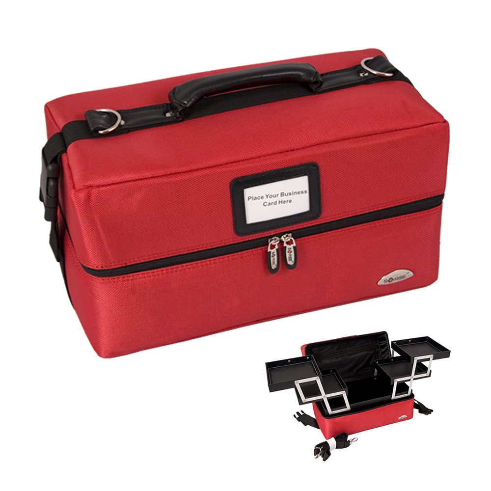 Sunrise Portable Makeup Artist Train Case Nylon Cosmetic Bag with Zipper, Red