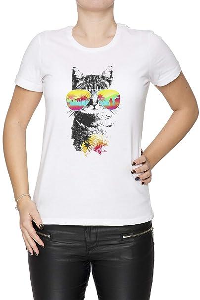 Gato Brisa - Gato Mujer Camiseta Cuello Redondo Blanco Manga Corta Tamaño XS Womens White X