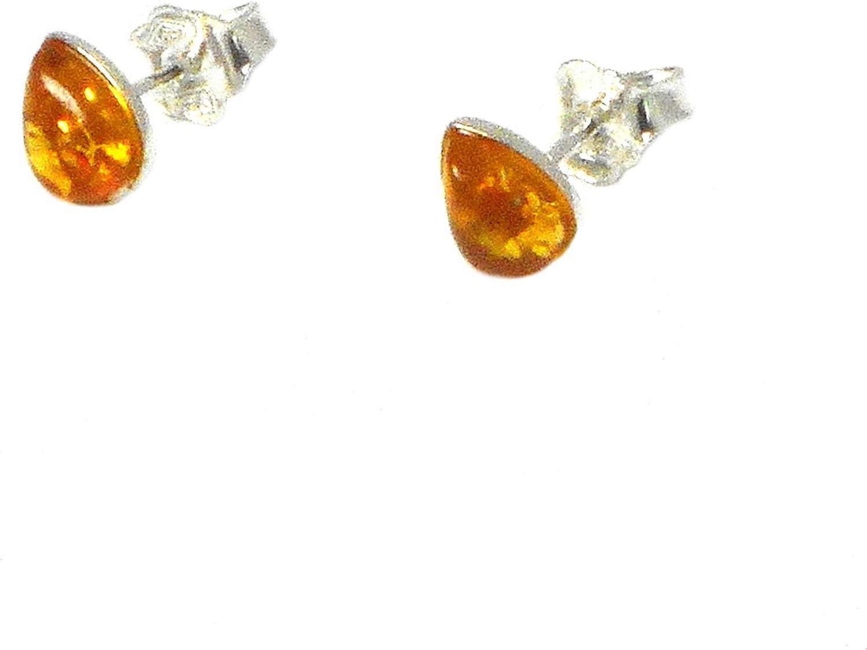 Arst0210184 - Pendientes de lágrima de plata de ley con ámbar miel, 925-6 x 8 mm