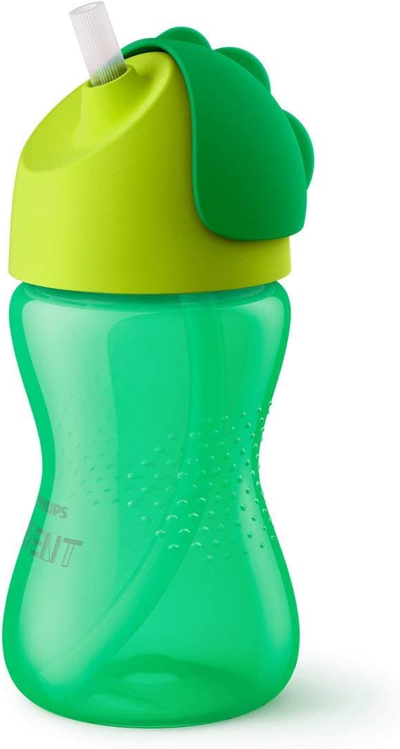 Philips Avent SCF798/01 - Vaso con pajita flexible, 300 ml, 12 m+, válvula antigoteo, piezas compatibles Philips Avent, color verde