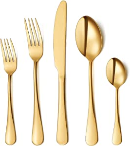 Flatware Set, 20-piece Silverware Cutlery Set with Serving Pieces, Heavy-duty Stainless Steel Utensils, Include Knife/Fork/Spoon, Mirror Finish, Dishwasher Safe, Service for 4 (Gold)