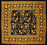 India Arts French Floral Square Cotton Tablecloth 60'' x 60'' Amber on Black