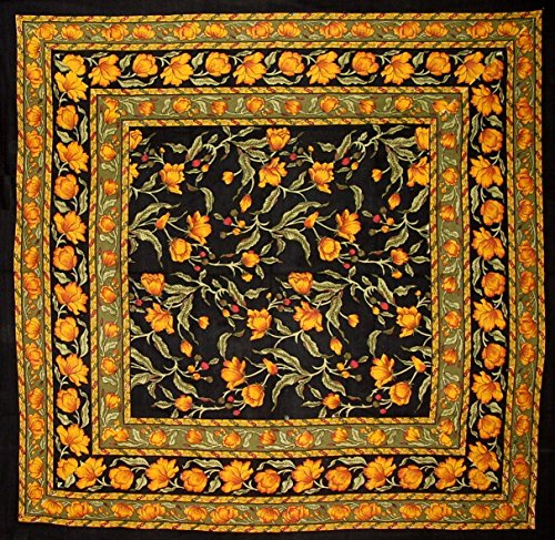 India Arts French Floral Square Cotton Tablecloth 60 x 60 Amber on Black