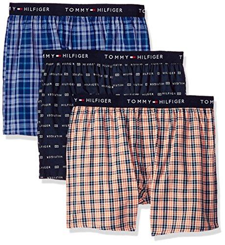 (Tommy Hilfiger Men's Cotton Classics 3 Pack Slim Fit Woven Boxer, Goldfish, Large)