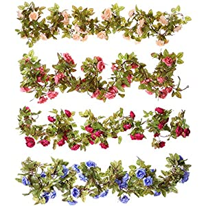 Floralgarden 4Pcs Fake Flowers Vine 7.2 FT/pc 17 Heads Silk Artificial Roses Garland Plant for Wedding Home Garden Party Decoration (Blue,Pink,Champagne,Rose red) 82