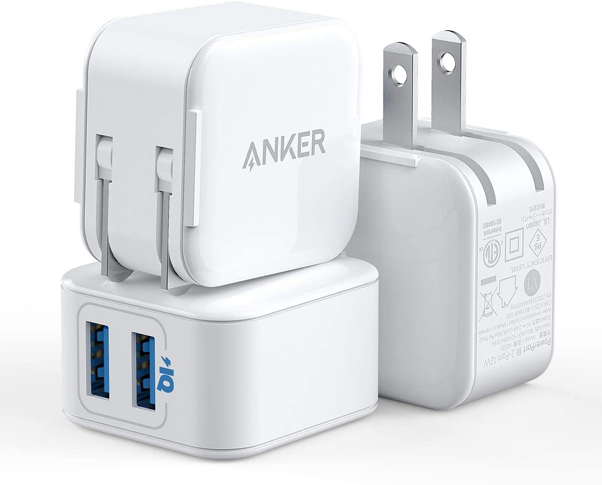 iPhone Charger, Anker PowerPort III 2-Port 12W USB Wall Charger (3-Pack), Foldable Plug, for iPhone Xs/XR/11/11 Pro/SE 2020, iPad, and More