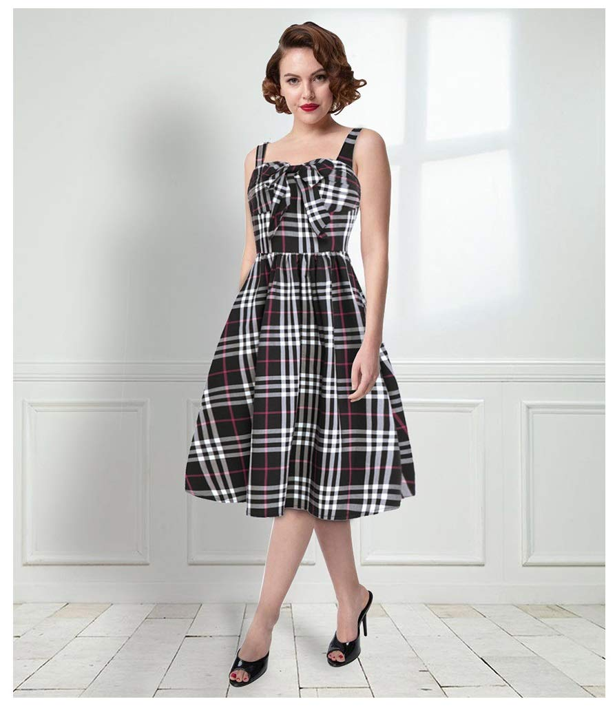 color1 CARRY Dress, Europe and America, Comfortable and Soft Ladies Cocktail Dress, Big Floral Print, Tube Top, Large Swing Dress, Retro Strap Dress (color   color3, Size   L)