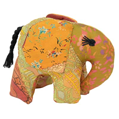 Silk Sari Stuffed Elephant - 3 inches x 4 inches Small Size - Stuffed Animal Toy - Made from Recycled Indian Silk Sari Fabric (Gold): Toys & Games [5Bkhe0905523]