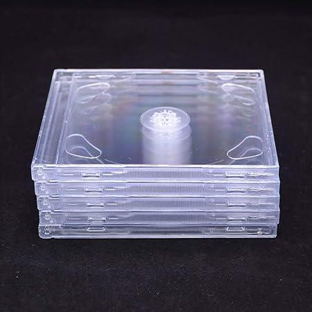 GWXJZ Estanterías para CD DVD Paquete de 5/10 Cajas de CD Transparentes de Doble Disco, Caja del Disco del álbum de música, Caja de Almacenamiento Cuadrado (Color : 10PCS): Amazon.es: Hogar