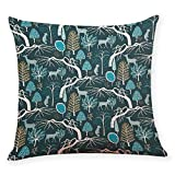 Pgojuni Cotton Linen Square Home Decorative Throw Pillow Case Sofa Waist Cushion Cover Sofa/Couch 1pc 45X45 cm (F)