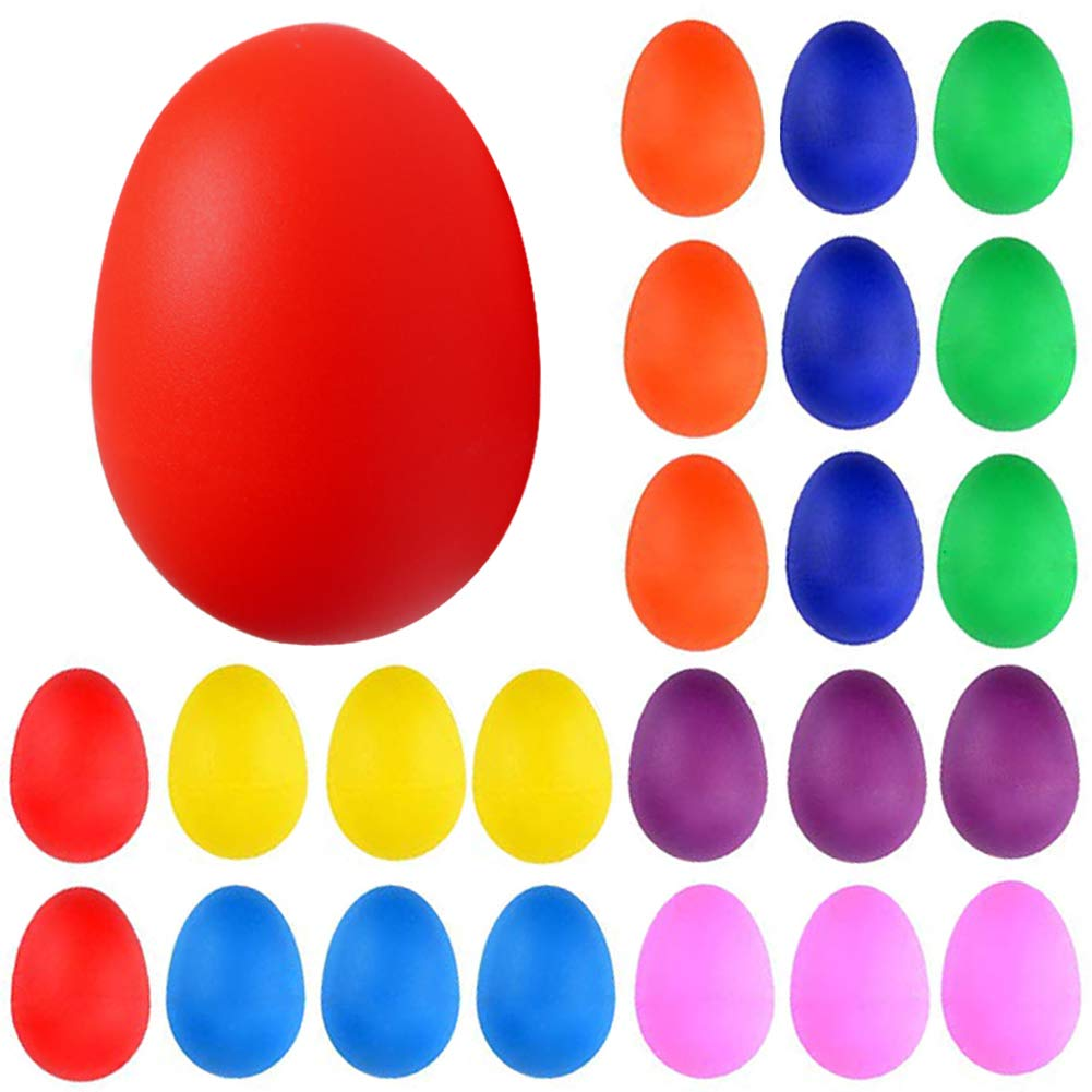 24PCS Plastic Egg Shakers Percussion Musical Egg Maracas Toys Music Learning DIY Painting(8 Colors) by Augshy