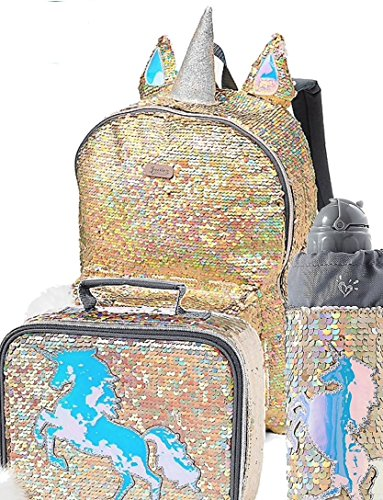 Justice Set of 3 School Backpack, Water Bottle & Lunch Tote Gold Unicorn